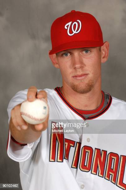 Stephen Strasburg, recently signed number one draft pick, of the Washington Nationals poses for photos before a baseball game against the Milwaukee...