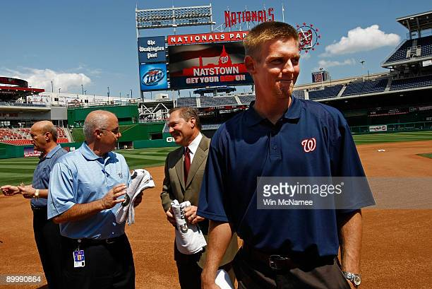 Stephen Strasburg the overall first pick in the 2009 Major League Baseball draft arrives for a press conference where he was introduced at Nationals...