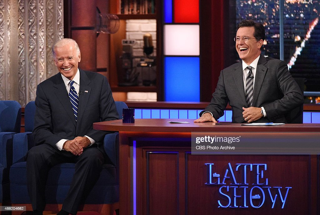 Stephen talks with Vice President Joe Biden, on The Late Show with Stephen Colbert, Thursday Sept 10, 2015 on the CBS Television Network.
