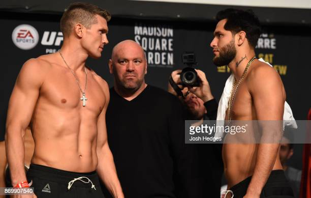 Stephen Thompson and Jorge Masvidal face off during the UFC 217 weighin inside Madison Square Garden on November 3 2017 in New York City