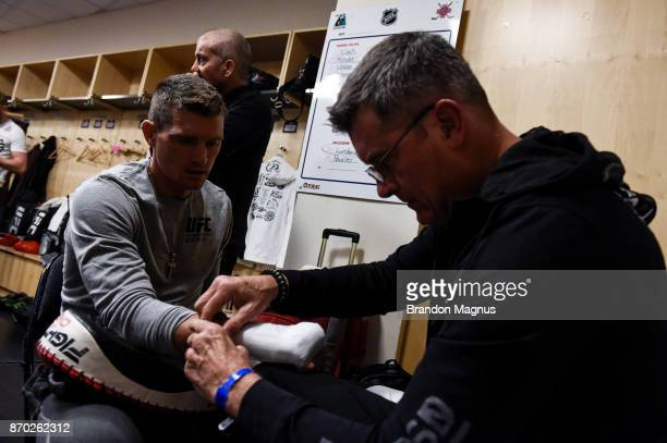 Stephen Thompson gets his hands wrapped backstage during the UFC 217 event inside Madison Square Garden on November 4 2017 in New York City