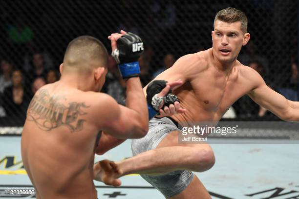 Stephen Thompson kicks Anthony Pettis in their welterweight bout during the UFC Fight Night event at Bridgestone Arena on March 23 2019 in Nashville...