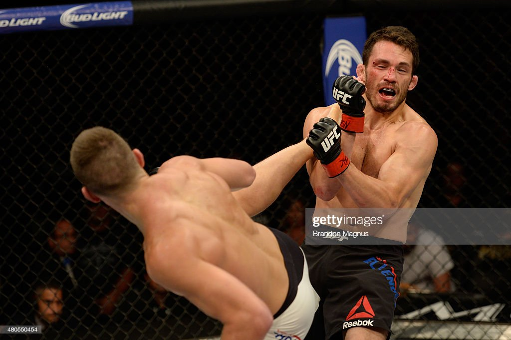 Stephen Thompson kicks Jake Ellenberger in their welterweight bout during the Ultimate Fighter Finale inside MGM Grand Garden Arena on July 12, 2015 in Las Vegas, Nevada.