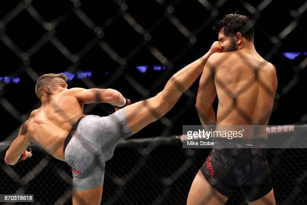 Stephen Thompson lands a kick against Jorge Masvidal in their welterweight bout during the UFC 217 event at Madison Square Garden on November 4 2017...