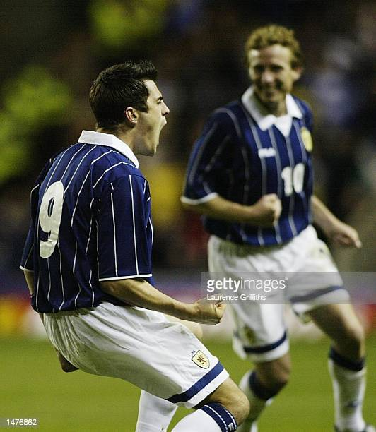 Stephen Thompson of Scotland celebrates his goal with Scot Gemmill during the Safeway International Challenge Match between Scotland and Canada at...