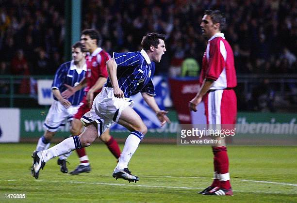 Stephen Thompson of Scotland celebrates scoring the second goal with Scot Gemmill during the Safeway International Challenge Match between Scotland...