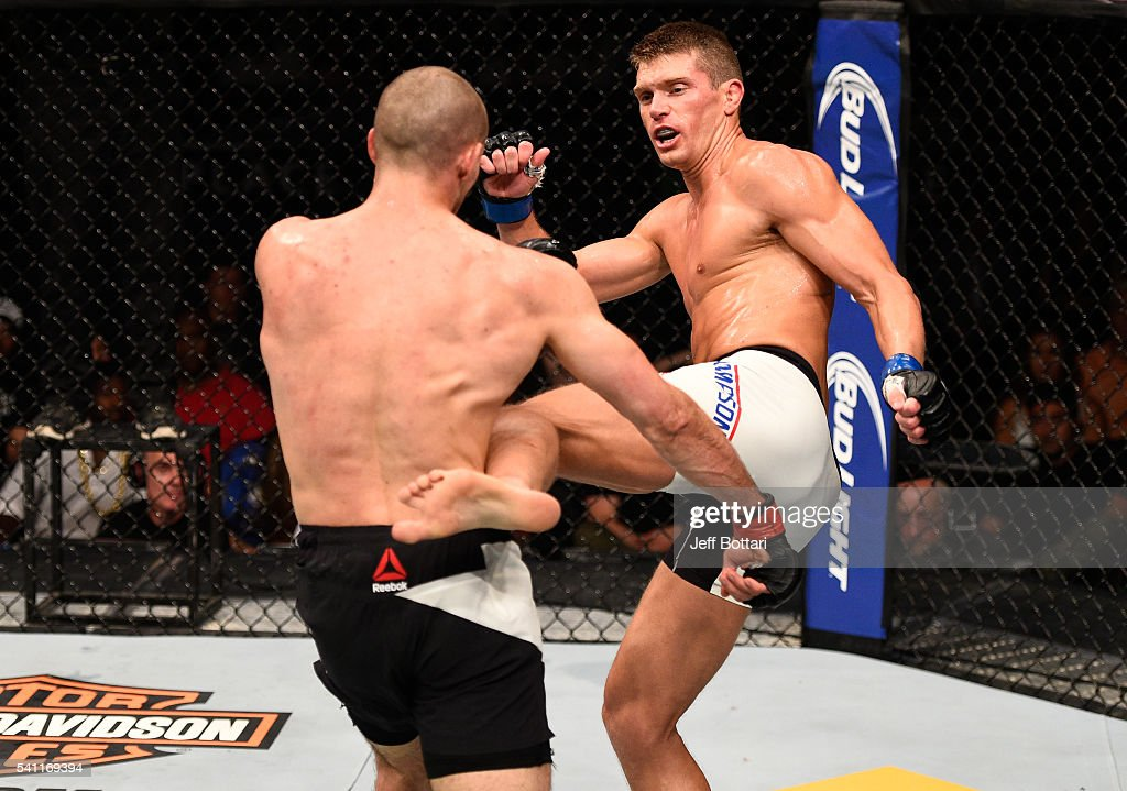 Stephen Thompson of the United States kicks Rory MacDonald of Canada in their welterweight bout during the UFC Fight Night event inside the TD Place Arena on June 18, 2016 in Ottawa, Ontario, Canada.