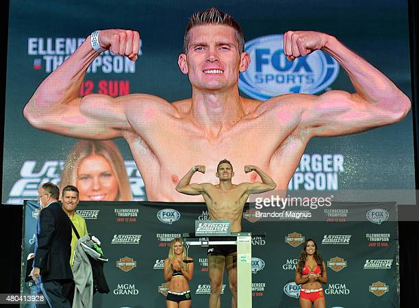 Stephen Thompson steps onto the scale during the TUF 21 Finale Weighin at the UFC Fan Expo in the Sands Expo and Convention Center on July 11 2015 in...