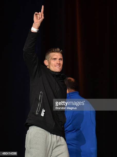 Stephen Thompson walks onto the stage during the TUF 21 Finale Weighin at the UFC Fan Expo in the Sands Expo and Convention Center on July 11 2015 in...