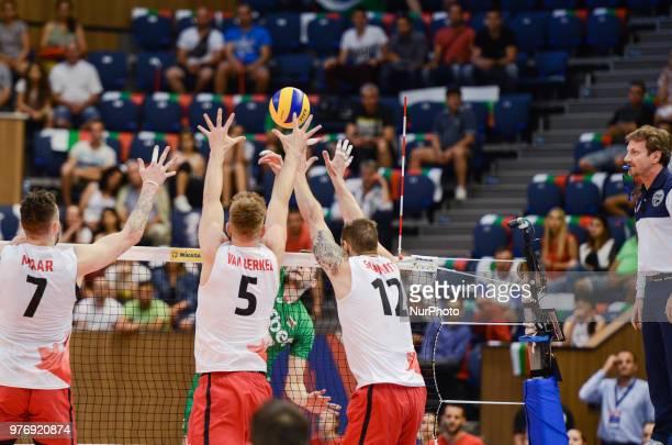 Stephen Timothy Maar Lucas Berkel and Gavin Schmitt Canada during Mens Volleyball Nations League VNL match between Bulgaria and Canada at Palace of...