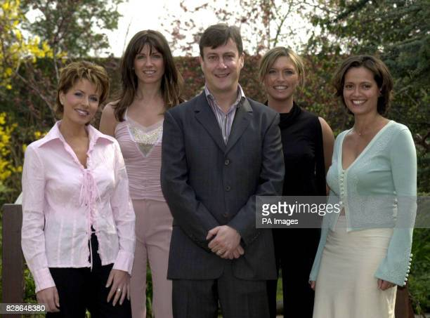 Stephen Tompkinson flanked by Natasha Kaplinsky Stacey Young Tina Hobley and Amanda Stretton during a photocall in London to host the Tommy's Parent...