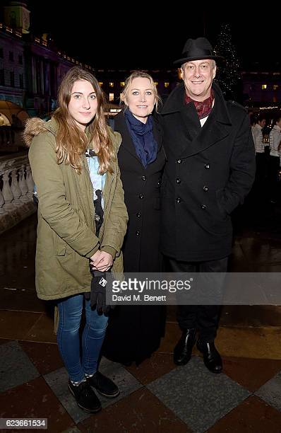 Stephen Tompkinson wife Elaine Young and daughter Daisy Ellen Tompkinson attend the opening party of Skate at Somerset House with Fortnum Mason on...