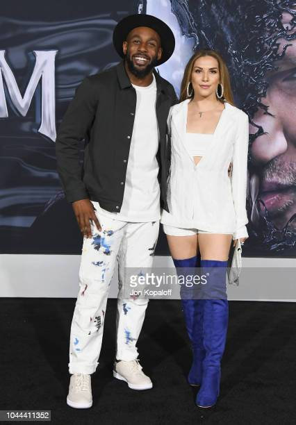 Stephen 'Twitch' Boss and Allison Holker attend the premiere of Columbia Pictures' Venom at Regency Village Theatre on October 1 2018 in Westwood...