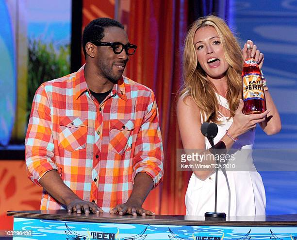 Stephen 'tWitch' Boss and Cat Deeley speak onstage during the 2010 Teen Choice Awards at Gibson Amphitheatre on August 8 2010 in Universal City...