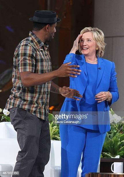 Stephen tWitch Boss and Hillary Clinton attend The Ellen DeGeneres Show Season 13 bicoastal premiere at Rockefeller Center on September 8 2015 in New...