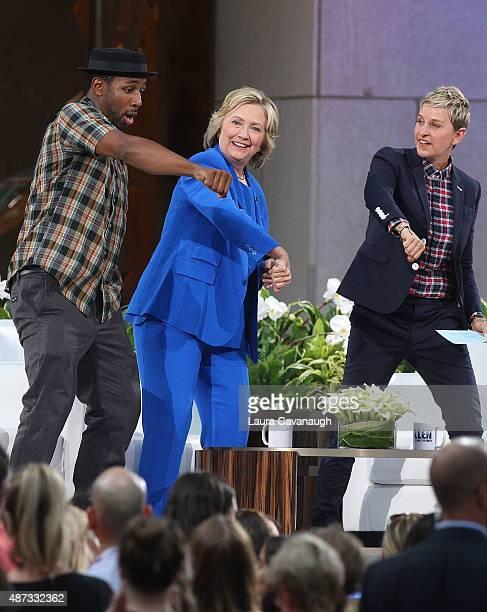 Stephen tWitch Boss Hillary Clinton and Ellen DeGeneres attend The Ellen DeGeneres Show Season 13 bicoastal premiere at Rockefeller Center on...