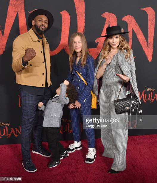 "Stephen ""tWitch"" Boss Maddox Laurel Boss Weslie Fowler and Allison Holker attend the Premiere Of Disney's Mulan on March 09 2020 in Hollywood..."