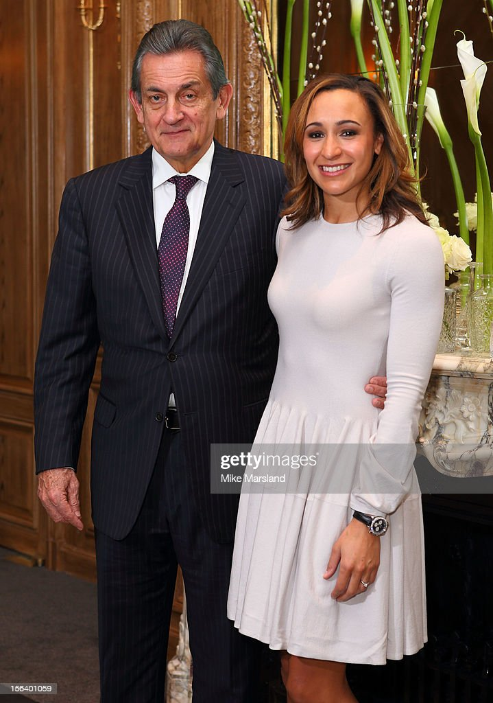 Stephen Urquhart President of Omega and Jessica Ennis attend an Olympic and Paralympic review dinner hosted by Omega at Claridge's Hotel on November 14, 2012 in London, England.