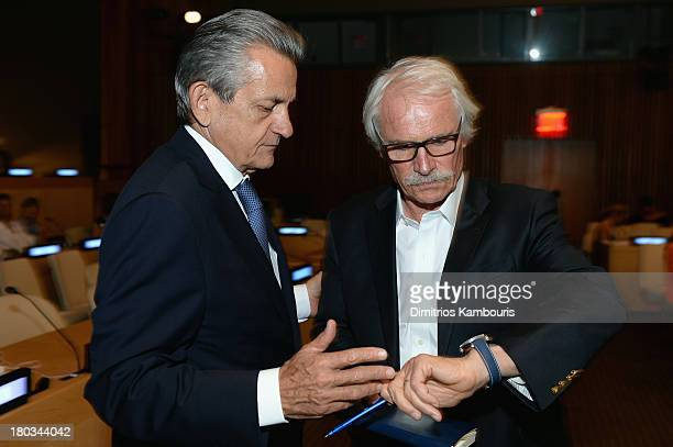 Stephen Urquhart President of Omega SA and director/ environmentalist Yann ArthusBertrand attend the United Nations and OMEGA presention of Planet...