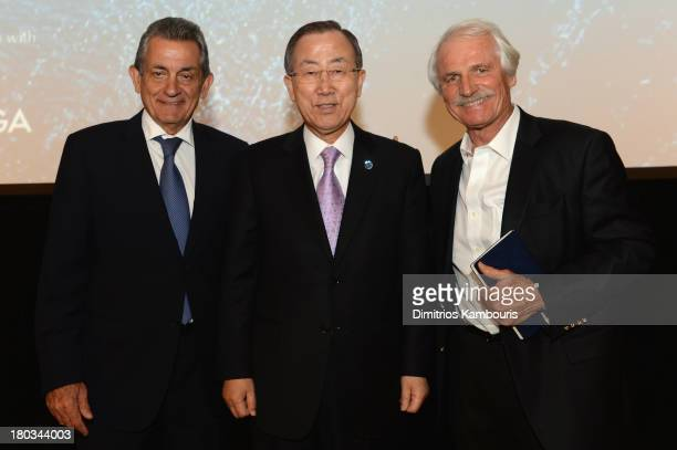 Stephen Urquhart President of Omega SA UN SecretaryGeneral Ban KiMoon and director/ environmentalist Yann ArthusBertrand attend the United Nations...