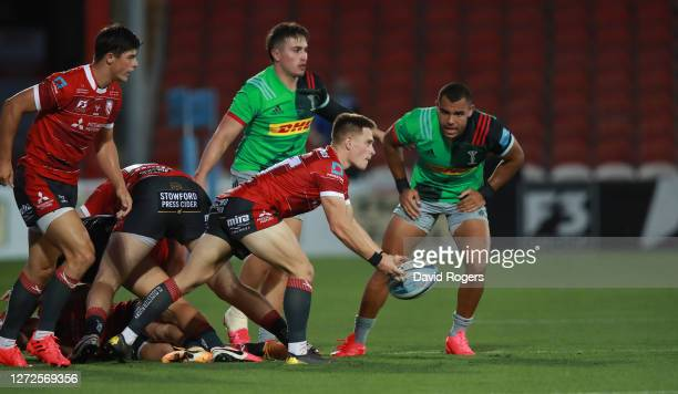 Stephen Varney of Gloucester passes the ball during the Gallagher Premiership Rugby match between Gloucester Rugby and Harlequins at Kingsholm on...