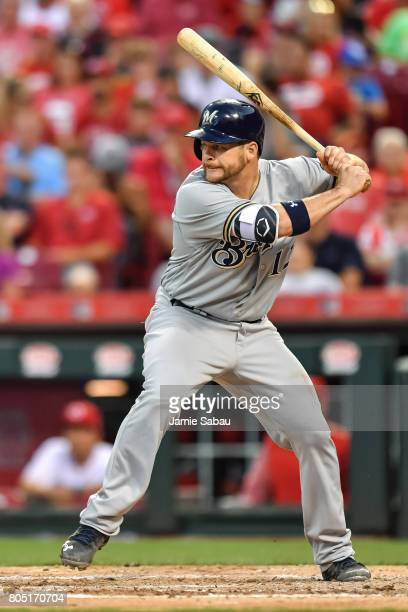 Stephen Vogt of the Milwaukee Brewers bats against the Cincinnati Reds at Great American Ball Park on June 28 2017 in Cincinnati Ohio