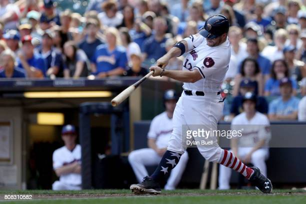 Stephen Vogt of the Milwaukee Brewers hits a home run in the second inning against the Baltimore Orioles at Miller Park on July 4 2017 in Milwaukee...