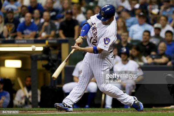 Stephen Vogt of the Milwaukee Brewers hits a home run in the second inning against the Miami Marlins at Miller Park on September 15 2017 in Milwaukee...