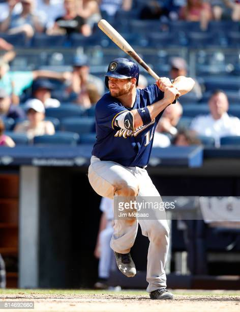 Stephen Vogt of the Milwaukee Brewers in action against the New York Yankees at Yankee Stadium on July 9 2017 in the Bronx borough of New York City...