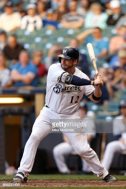 Stephen Vogt of the Milwaukee Brewers makes some contact at the plate during the game against the Cincinnati Reds at Miller Park on September 28 2017...