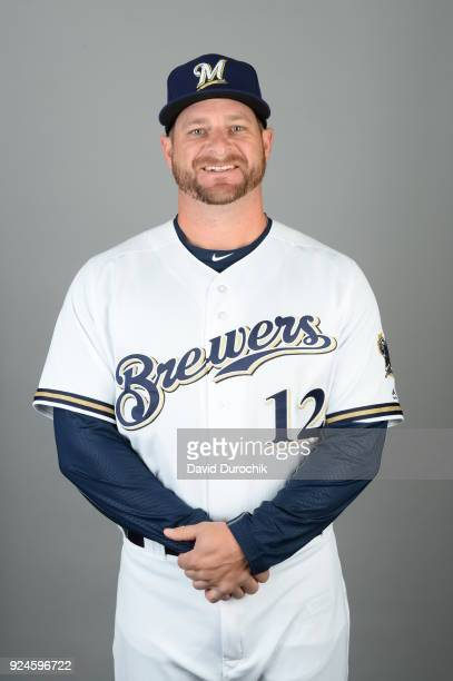 Stephen Vogt of the Milwaukee Brewers poses during Photo Day on Thursday February 22 2018 at Maryvale Baseball Park in Phoenix Arizona