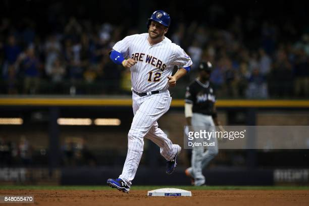 Stephen Vogt of the Milwaukee Brewers rounds the bases after hitting a home run in the second inning against the Miami Marlins at Miller Park on...