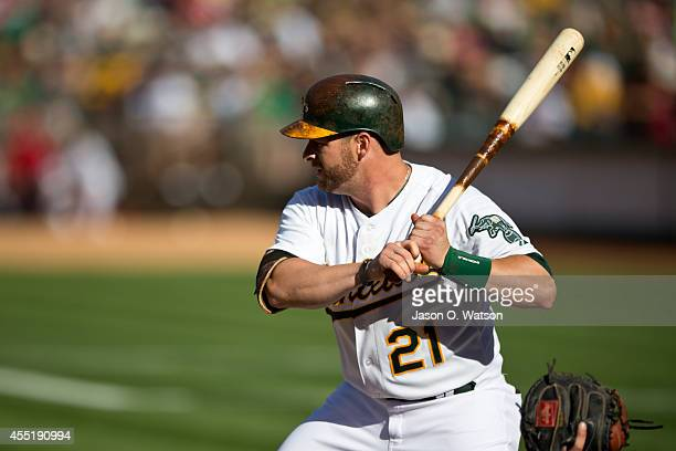 Stephen Vogt of the Oakland Athletics at bat against the Los Angeles Angels of Anaheim during the first inning at Oco Coliseum on August 24 2014 in...