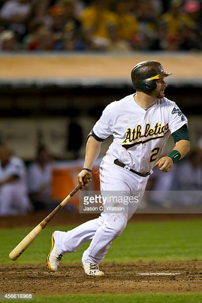 Stephen Vogt of the Oakland Athletics at bat against the Los Angeles Angels of Anaheim during the fourth inning at Oco Coliseum on September 23 2014...