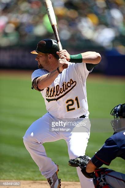 Stephen Vogt of the Oakland Athletics bats against the Minnesota Twins during the game at Oco Coliseum on Sunday August 10 2014 in Oakland California