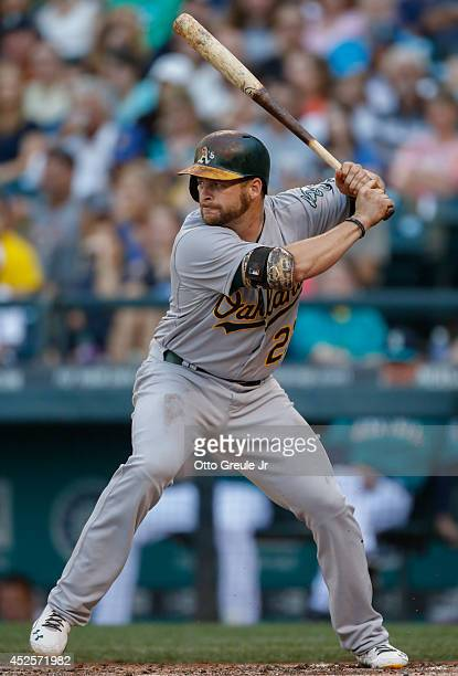Stephen Vogt of the Oakland Athletics bats against the Seattle Mariners at Safeco Field on July 11 2014 in Seattle Washington
