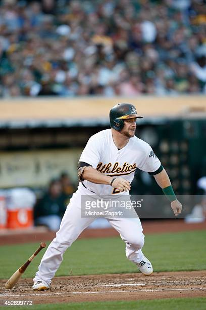 Stephen Vogt of the Oakland Athletics bats during the game against the Toronto Blue Jays at Oco Coliseum on July 5 2014 in Oakland California The...