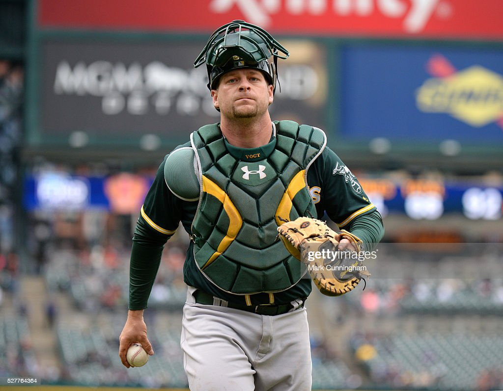 Stephen Vogt #21 of the Oakland Athletics looks on during the game against the Detroit Tigers at Comerica Park on April 28, 2016 in Detroit, Michigan. The Tigers defeated the A's 7-3.