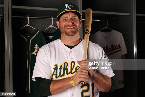 Stephen Vogt of the Oakland Athletics poses for a portrait during photo day at HoHoKam Stadium on February 22 2017 in Mesa Arizona