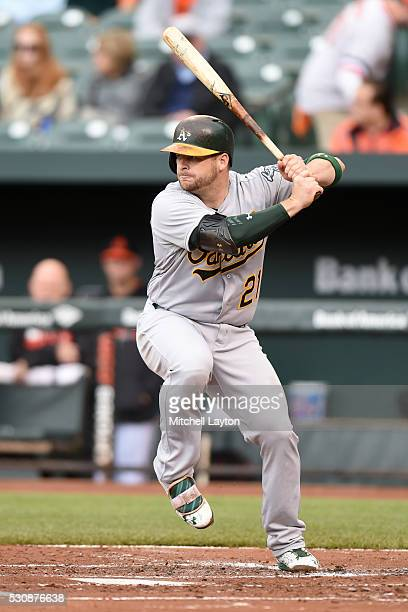 Stephen Vogt of the Oakland Athletics prepares for a pitch during game one of a baseball game against the Baltimore Orioles at Oriole Park at Camden...