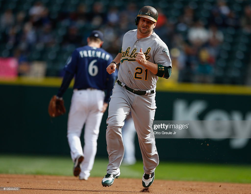 Stephen Vogt #21of the Oakland Athletics rounds the bases after hitting a solo home run in the first inning against the Seattle Mariners at Safeco Field on October 2, 2016 in Seattle, Washington.