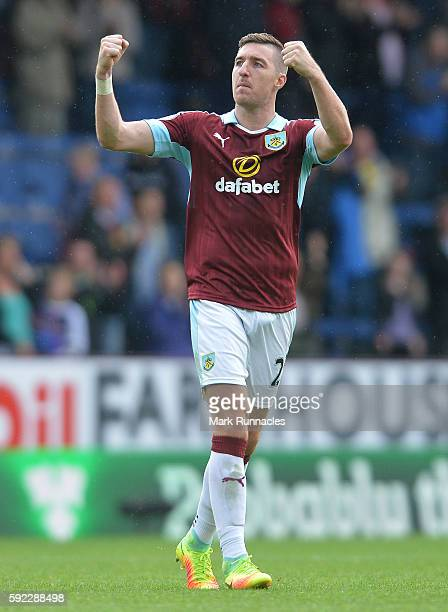 Stephen Ward of Burnley applauds the Burnley fans at the end of the Premier League match between Burnley FC and Liverpool FC at Turf Moor on August...