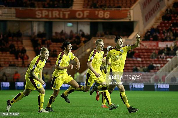 Stephen Ward of Burnley celebrates his goal during the Emirates FA Cup third round match between Middlesbrough and Burnley at Riverside Stadium on...