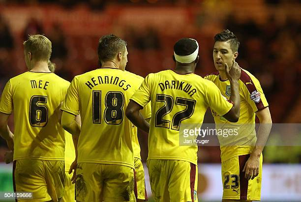 Stephen Ward of Burnley celebrates his goal with team mates during the Emirates FA Cup third round match between Middlesbrough and Burnley at...