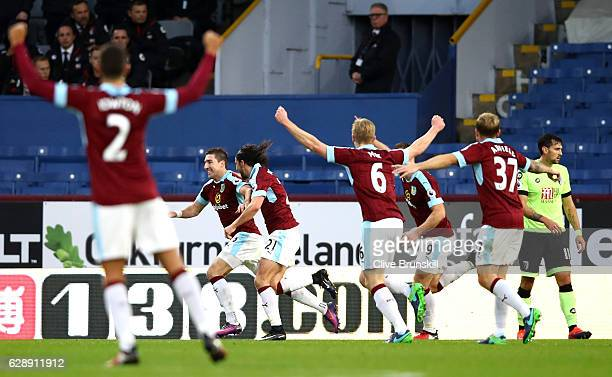 Stephen Ward of Burnley celebrates scoring his sides second goal with his Burnley team mates during the Premier League match between Burnley and AFC...