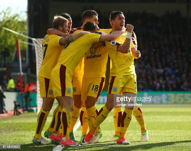Stephen Ward of Burnley celebrates the opening goal scored by Ashley Barnes during the Premier League match between Crystal Palace and Burnley at...