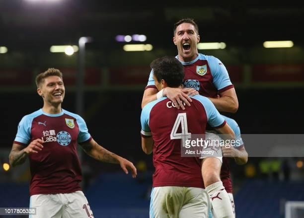 Stephen Ward of Burnley congratulates goal scorer Jack Cork during the UEFA Europa League third round qualifier second leg between Burnley and...