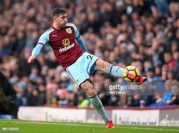 Stephen Ward of Burnley controls the ball during the Premier League match between Burnley and Arsenal at Turf Moor on November 26 2017 in Burnley...