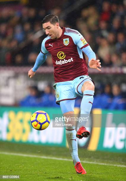 Stephen Ward of Burnley controls the ball during the Premier League match between Burnley and Stoke City at Turf Moor on December 12 2017 in Burnley...