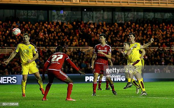 Stephen Ward of Burnley scores his sides second goal during the Emirates FA Cup third round match between Middlesbrough and Burnley at Riverside...